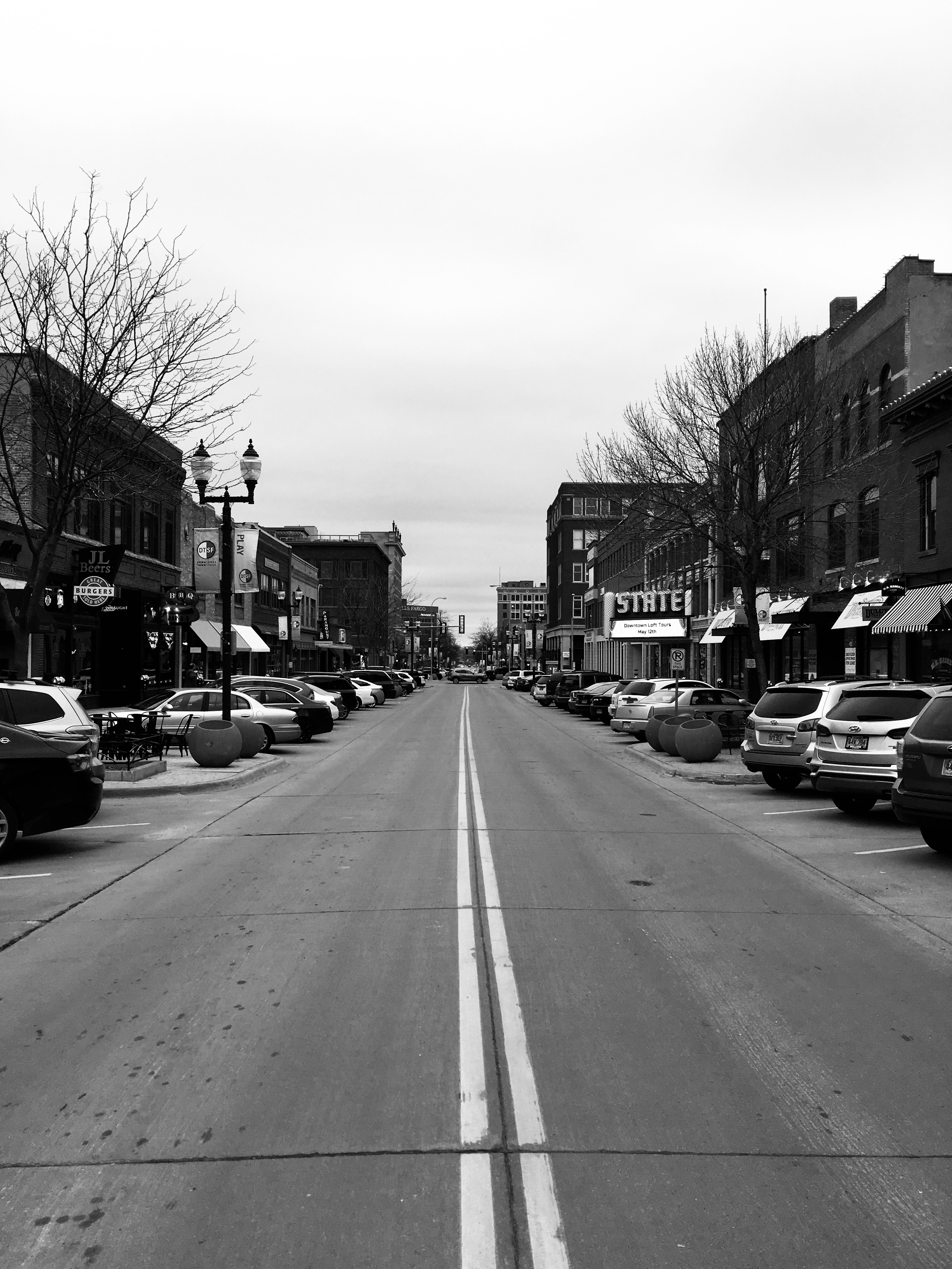 A view down main street in Sioux Falls.