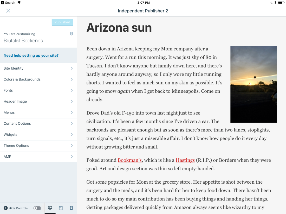 My WordPress.com set-up uses one of their available themes, which is relatively easy to configure through the app.