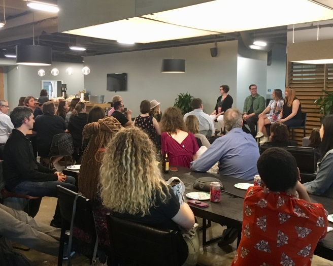 A crowd gathered at Industrious in downtown Minneapolis for the local content strategy meetup featuring Confab speakers.