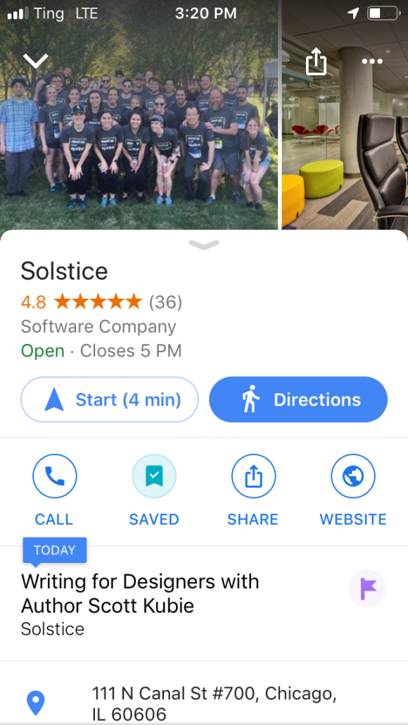 I have to admit I was pretty delighted to see this pop up on Google while grabbing directions to the office.