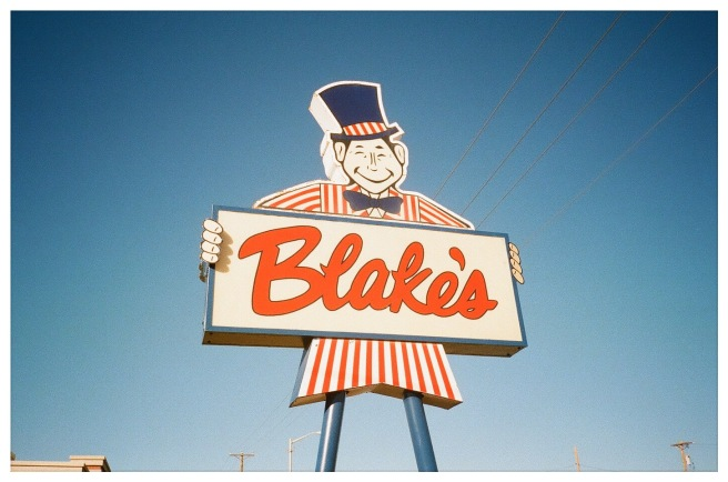 Photograph of a stylized sign for a hamburger restaurant named Blake's.
