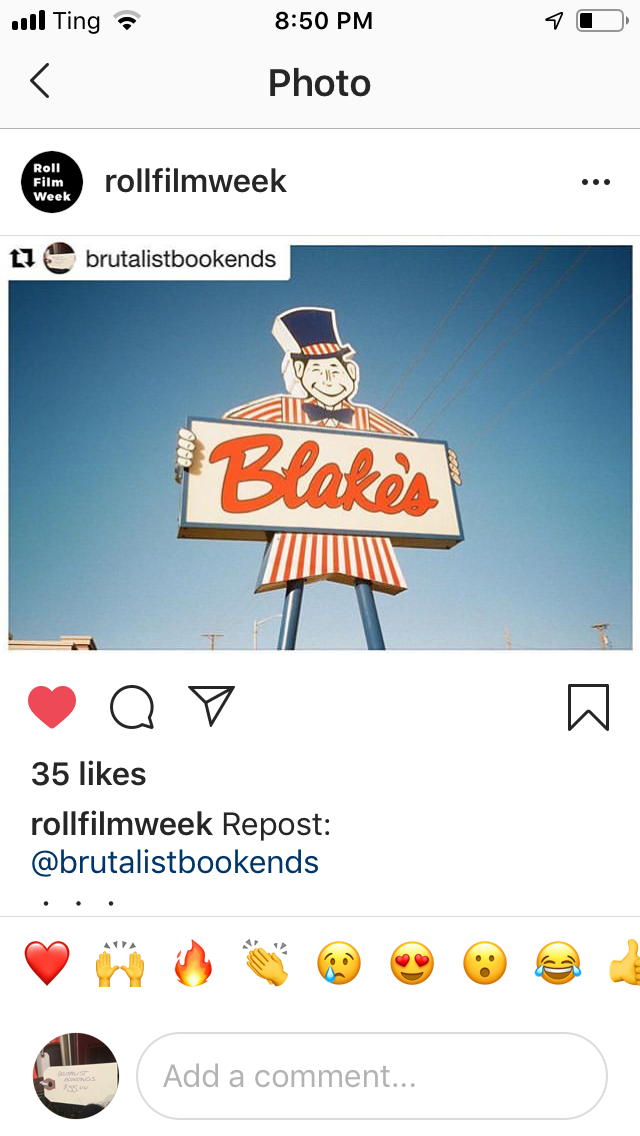 Screenshot of the @rollfilmweek Instagram account sharing one of my photos.