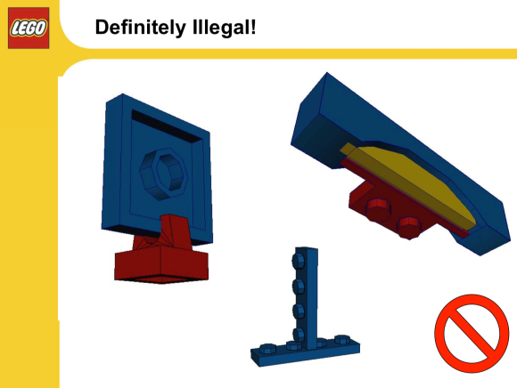 Slide of illegal LEGO builds from an internal presentation.